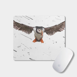 """Frank"" The Puffin (Grey Background) Mousemat - Andy Thomas Artworks"