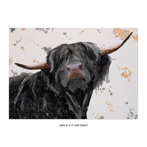 """Barnaby"" The Highland Bull 5x7 Mini Print - Andy Thomas Artworks"