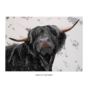 """Barnaby"" The Highland Bull (Grey Background) 5x7 Mini Print - Andy Thomas Artworks"