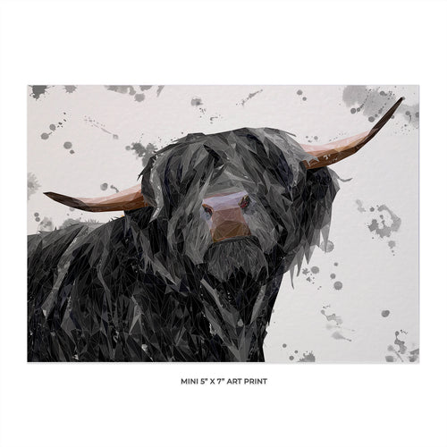"""Barnaby"" The Highland Bull (Grey Background) 5x7 Mini Print"