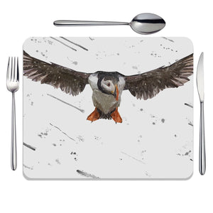 """Frank"" The Puffin (Grey Background) Placemat - Andy Thomas Artworks"