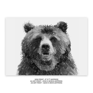 """Monty"" The Brown Bear (B&W) Unframed Gloss Charity Print - Andy Thomas Artworks"
