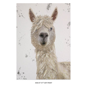 """Rowland"" The Alpaca (Grey Background) 5x7 Mini Print - Andy Thomas Artworks"