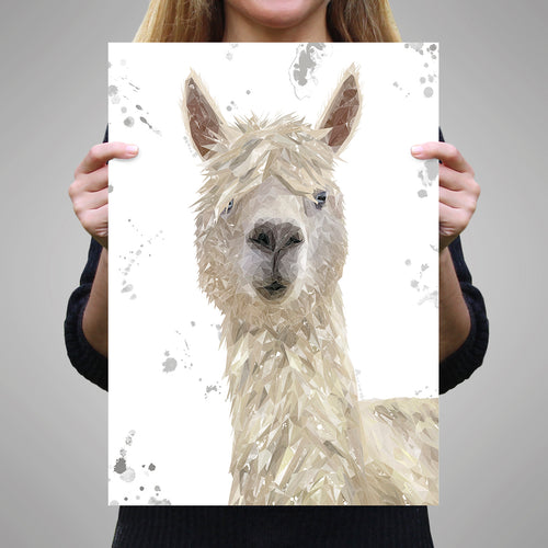 """Rowland"" The Alpaca (Grey Background) Unframed Art Print"