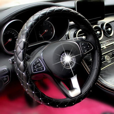2019 New Crystal Diamond Car Steering Wheel Covers for Women Girl Leather Rhinestone covered Steering-Wheel Interior Accessories