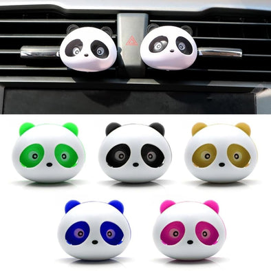 2pcs Car Outlet Perfume Air Conditioning Vent Air Freshener Car Styling Cute Panda Eyes Will Jump Perfumes Auto Accessories