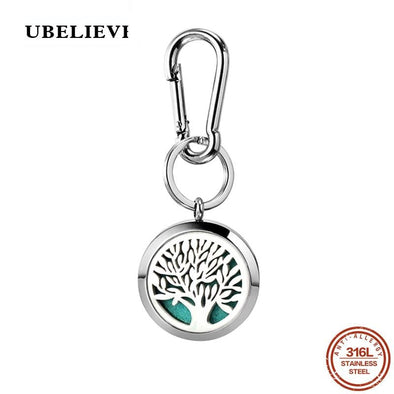 316L Stainless Steel Aromatherapy Keychain Tree Pattern Hollow Aromatherapy Perfume Locket Key Chain Hook Floating Locket
