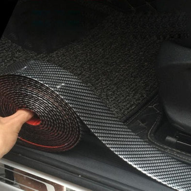 Carbon Fiber Rubber Moulding Strip Soft Black Trim Bumper Strip DIY Door Sill Protector Edge Guard Car Stickers Car Styling 1M