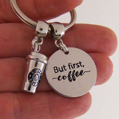 Yamily 10pcs/lot But first coffee keychain coffee cup Charm pendant Keyring coffee drinker jewelry coffee lover gift