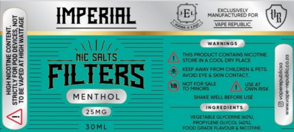 Filters menthol by Imperial salt