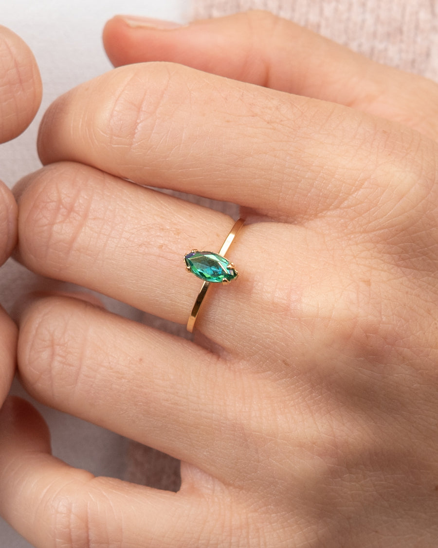 Gold Ring With Green Swarovski Crystal