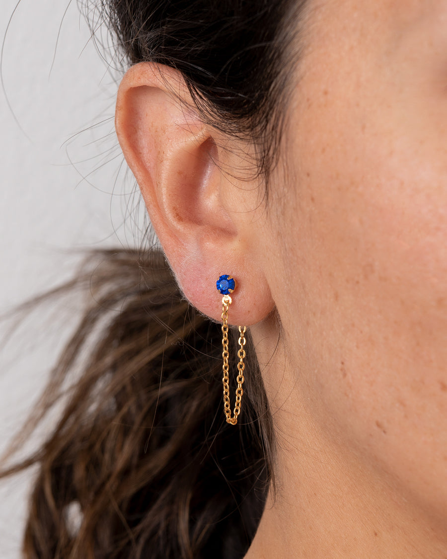 Gold-Plated Ear Chain With Blue Swarovski Crystal