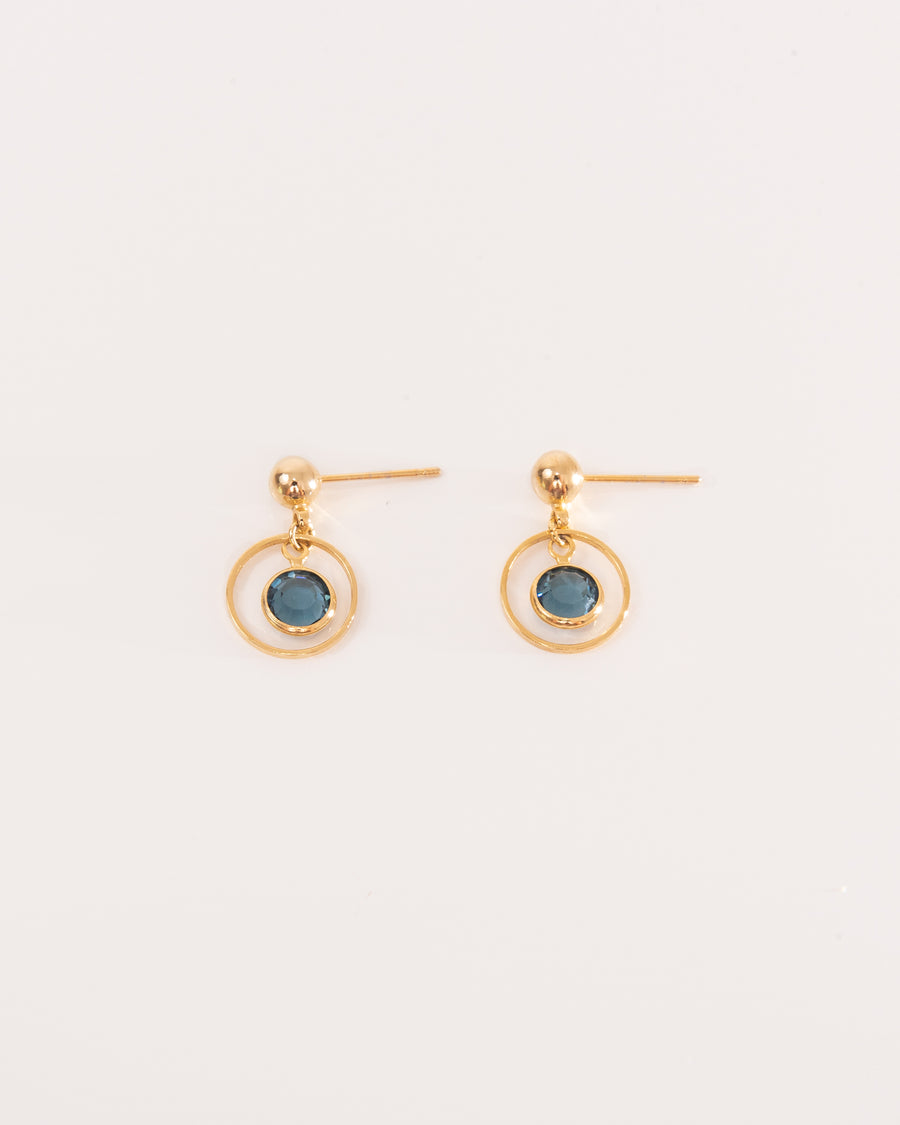 Gold Earrings With Royal Blue Swarovski crystal