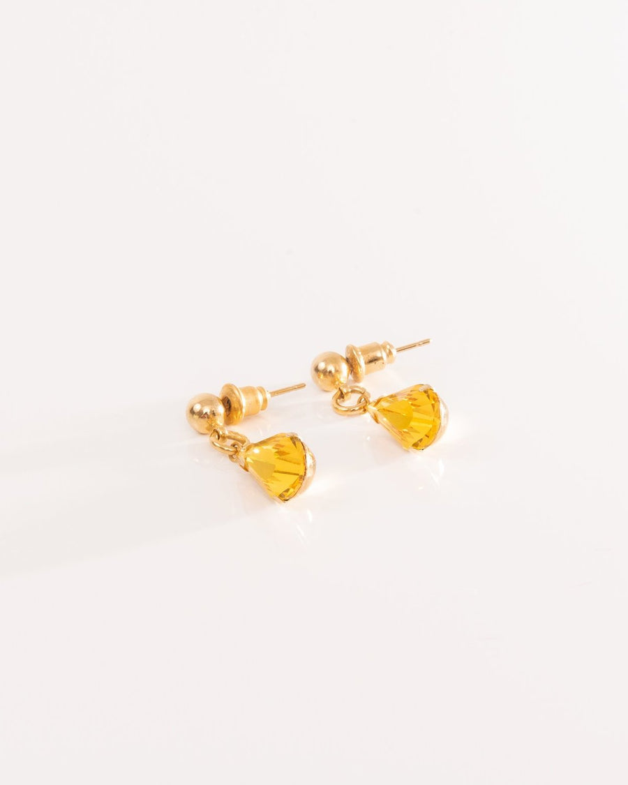 Drop Earring With Yellow Swarovski Crystal
