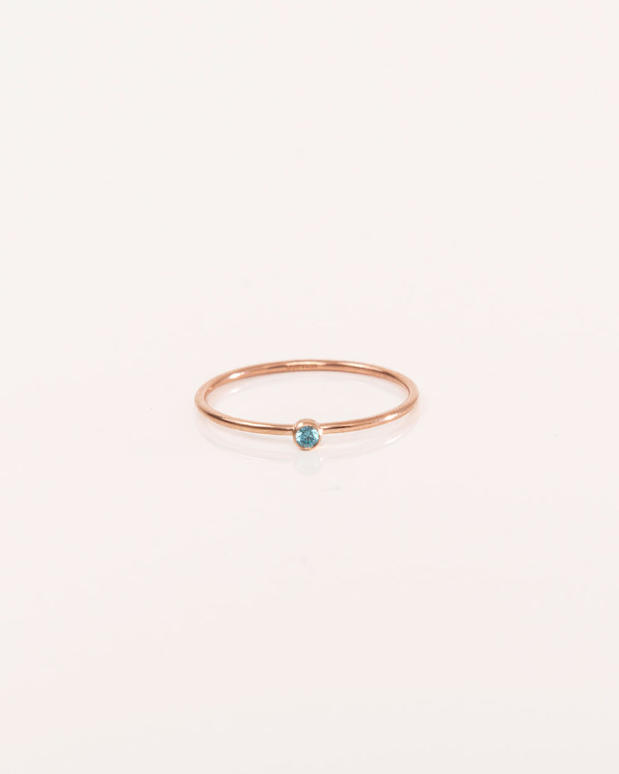 Rose Gold Ring With Blue Zircon Gemstone