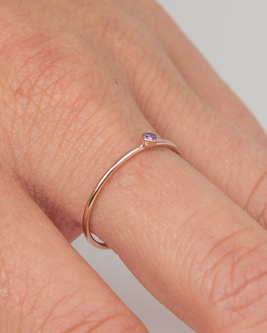 Rose Gold Ring With Amethyst Gemstone