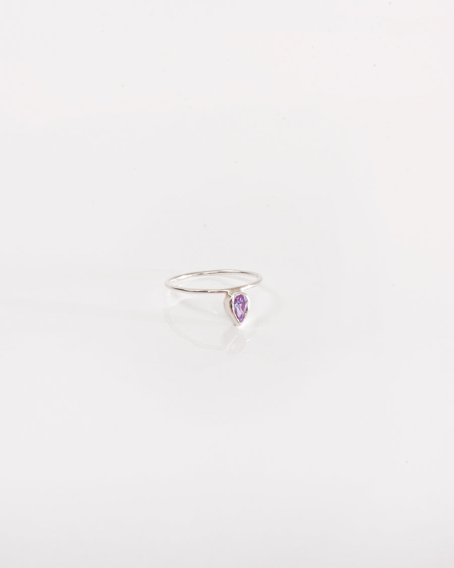 Sterling silver ring with drop zircon gemstone
