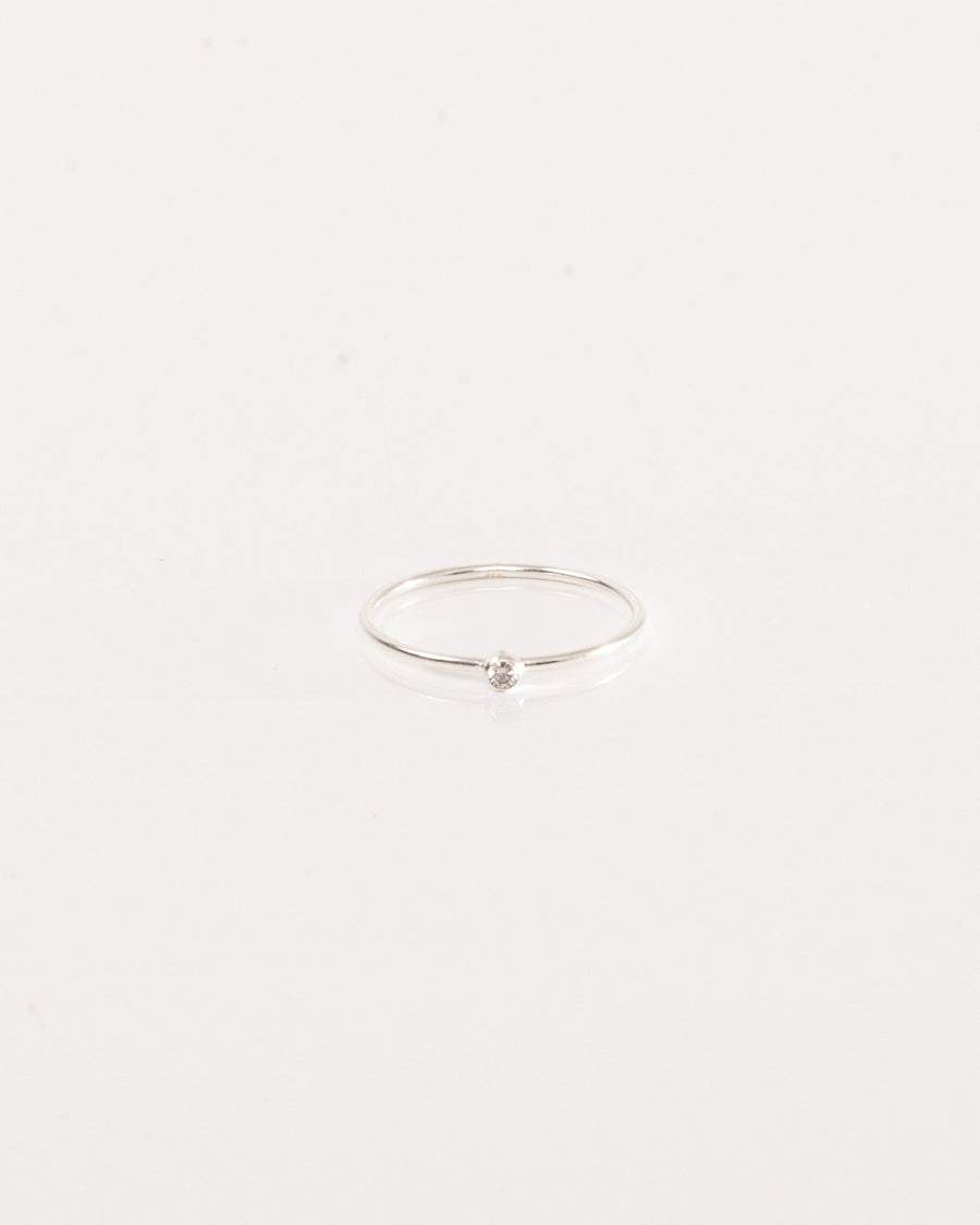 Sterling silver ring with white zircon gemstone