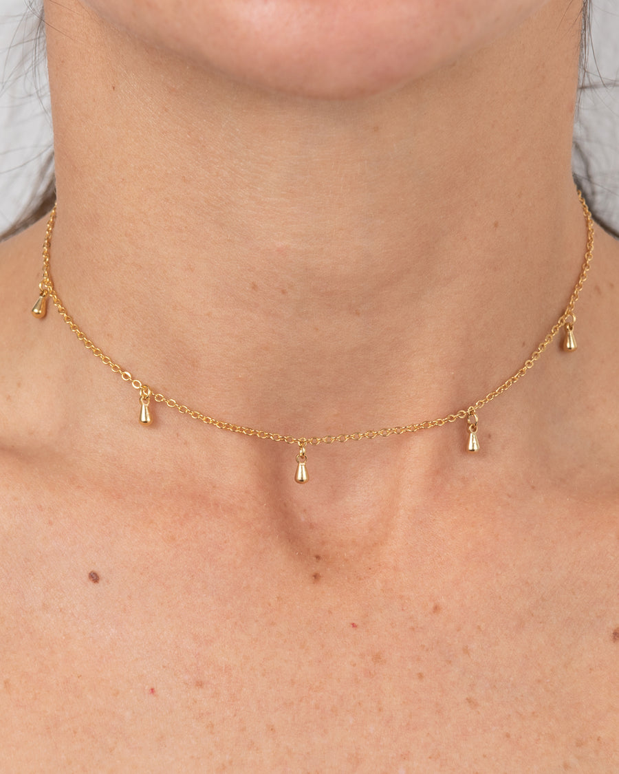 Gold-plated Choker With Drop Pendants