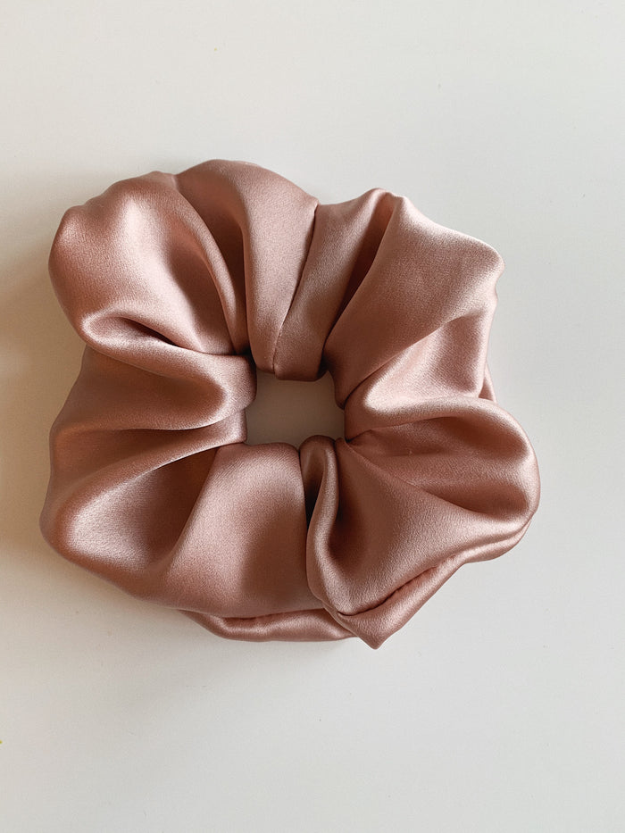 Pure Silk Charmeuse Scrunchie - Dusty Rose