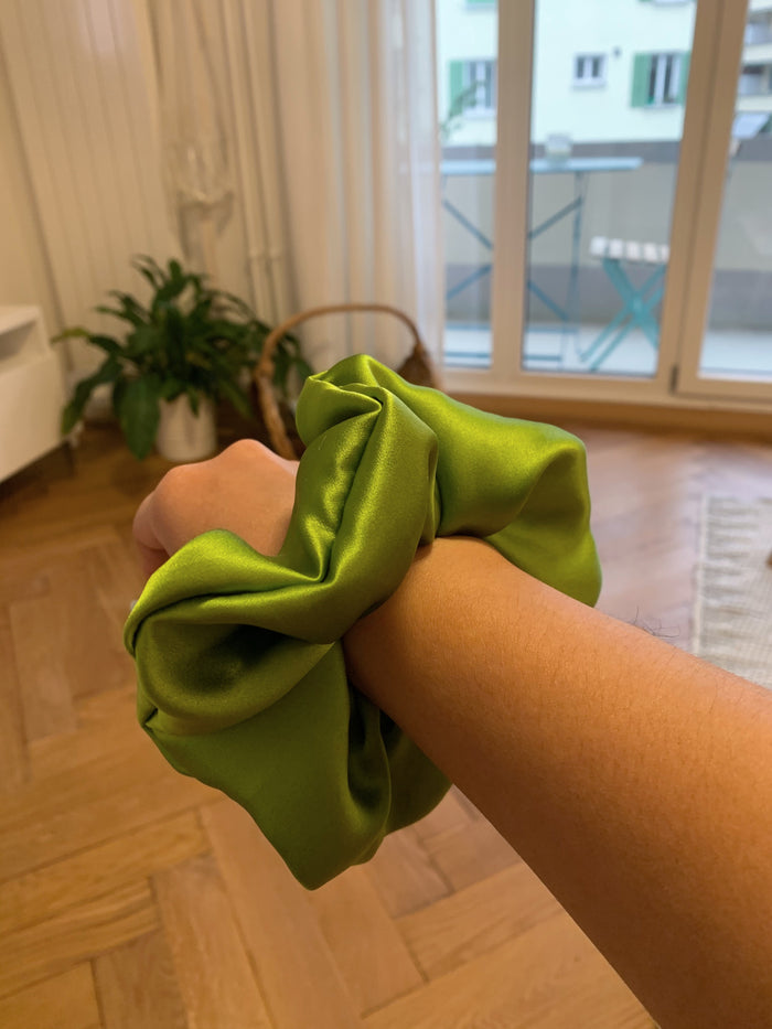 Pure Silk Charmeuse Scrunchie - Green