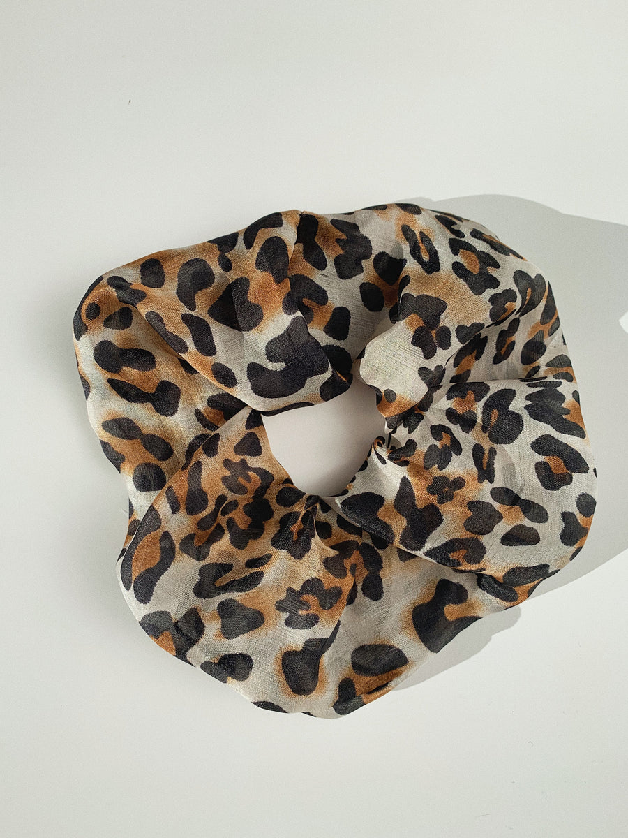 Pure Silk Scrunchie - Leopard