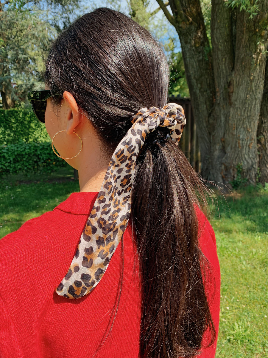 Pure Silk Scarf Scrunchie - Leopard