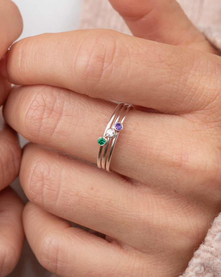 Sterling Silver Ring with Green Zircon Gemstone