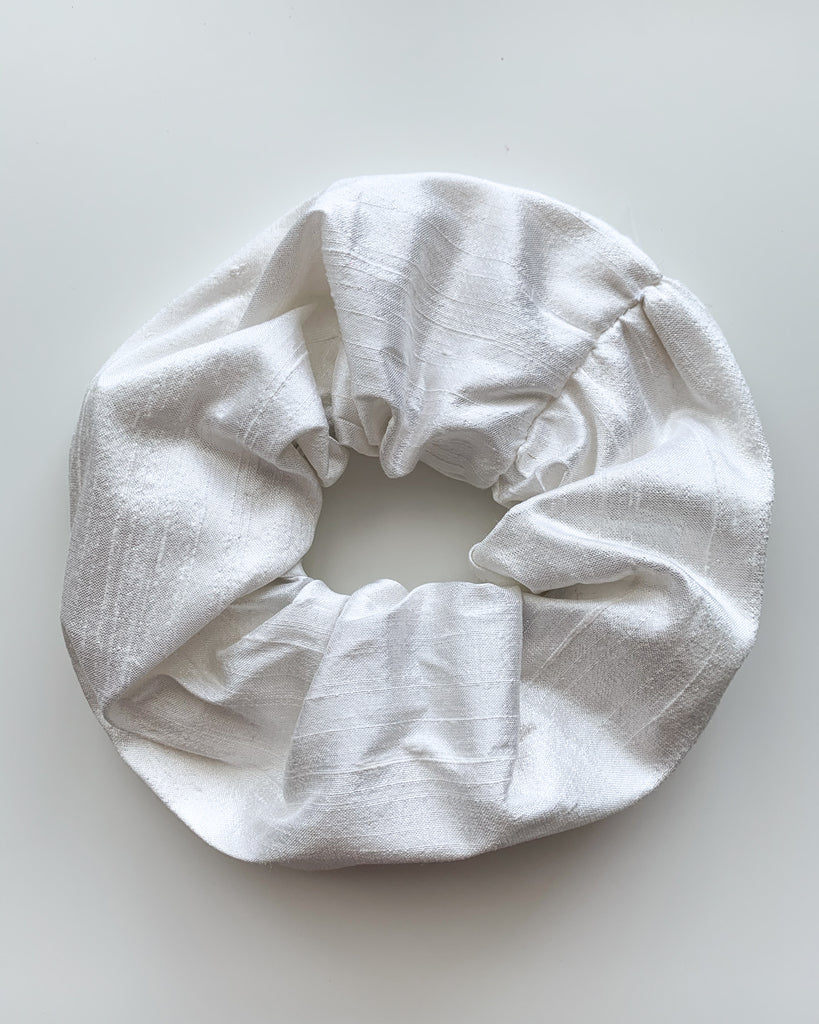 Pure Silk Scrunchie - White