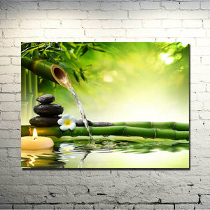 Bamboo Fountain Silk Wall Art