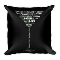 Cocktail Word Square Pillow