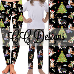 Corgi's Christmas leggings, available in plus size, and mommy and me sets | Plum Hanger
