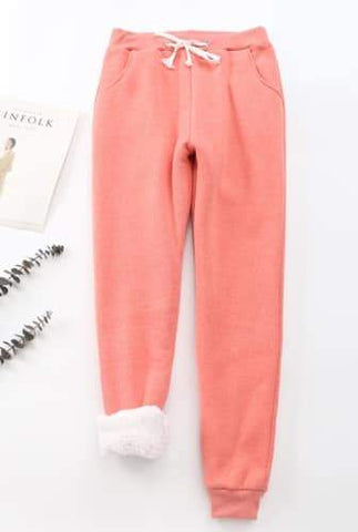 Cheri sherpa-lined sweatpants in Coral | Plum Hanger