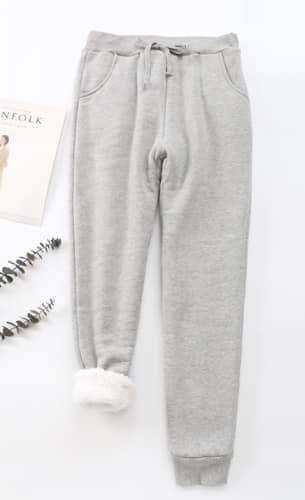 Cheri sherpa-lined sweatpants in Grey | Plum Hanger