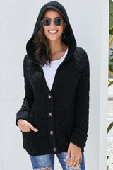 Diamond high quality, woven, hooded cardigan in black | Plum Hanger Boutique