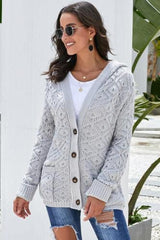 Diamond high quality, hooded cardigan in grey | Plum Hanger Boutique