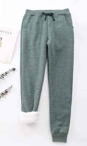 Cheri sherpa-lined sweatpants in green | Plum Hanger
