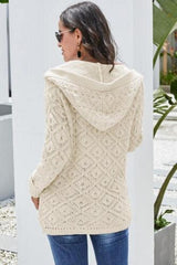 Back view of Diamond hooded cardigan in cream | Plum Hanger Boutique