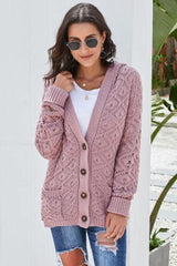 Diamond Heavy, Hooded Cardigan in Pink | Plum Hanger Boutique