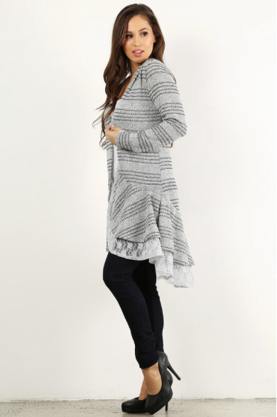 Striped, Lace Trim Cardigan