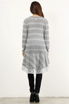 Grey striped, long cardigan