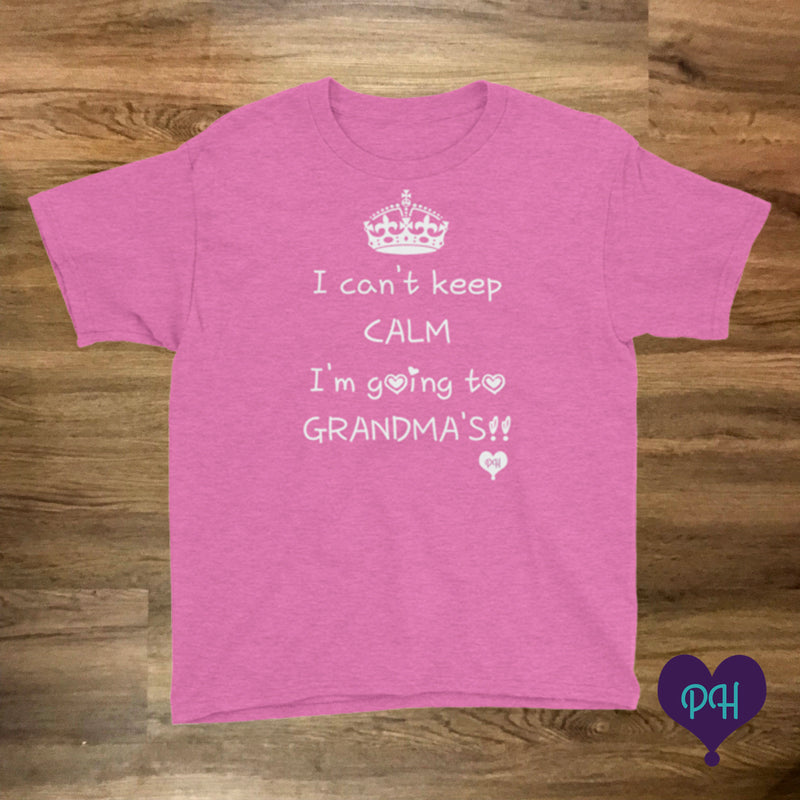 I can't keep calm, I'm going to Grandma's t-shirt in heather hot pink | Plum Hanger