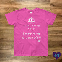 I can't keep calm, I'm going to Grandma's t-shirt in fuchsia | Plum Hanger