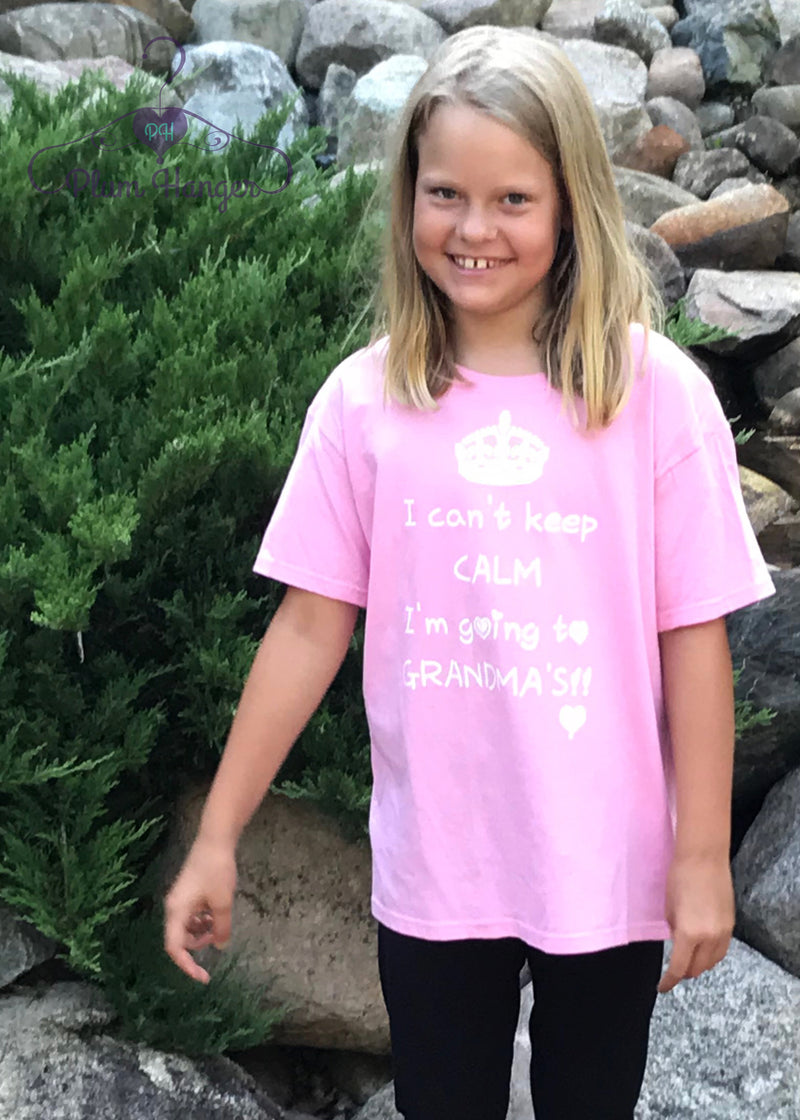 I can't keep calm I'm going to Grandma's! T-shirt in Charity Pink | Plum Hanger