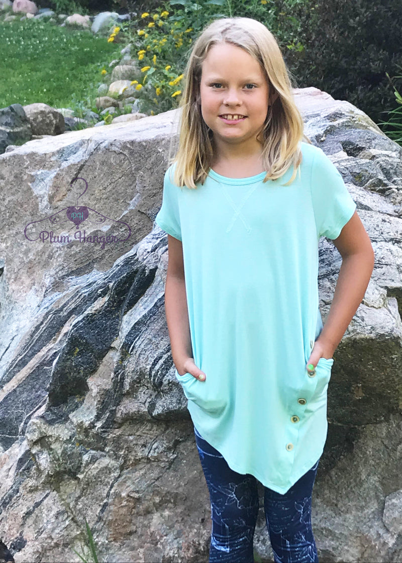 Emily girl's top with pockets | Plum Hanger Boutique