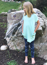 Email light mint, girl's tunic top with pockets | Plum Hanger