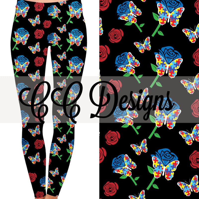Autism Butterflies leggings | Plum Hanger