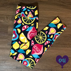 Lemon Squeeze leggings at the Plum Hanger