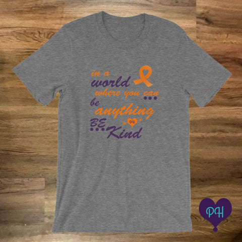 Orange Ribbon, Be Kind t-shirt in deep heather | Plum Hanger