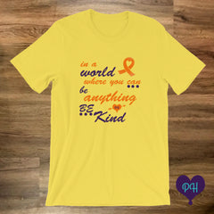 Orange Ribbon, Be Kind t-shirt in yellow | Plum Hanger